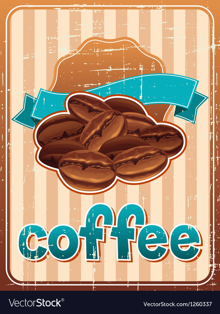 Poster with coffee beans in retro style vector