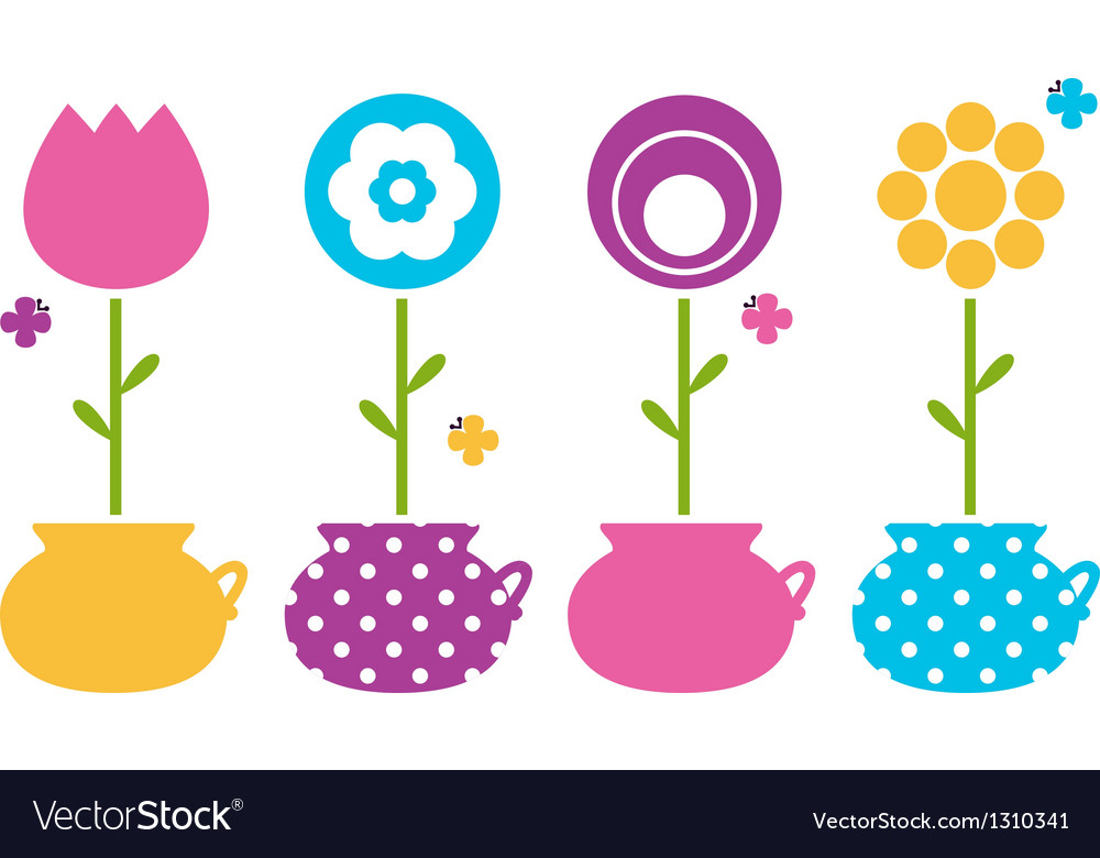 Cute spring flowers in flower pots vector