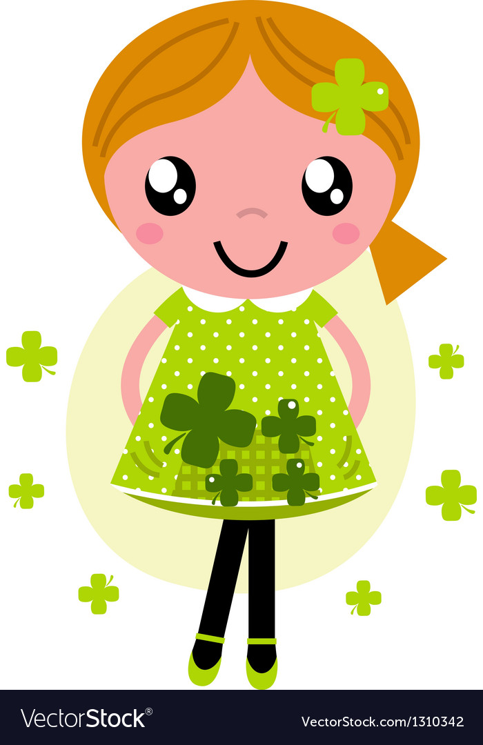 Little cute red hair girl for saint patricks day vector