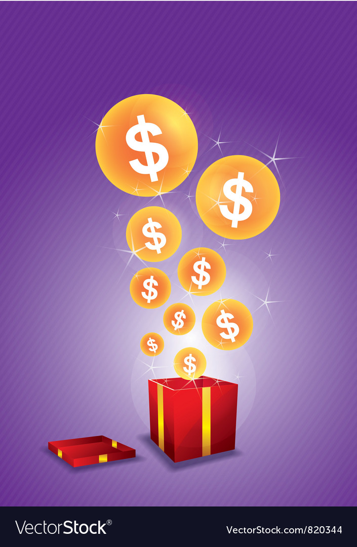Dollar floating from gift box vector