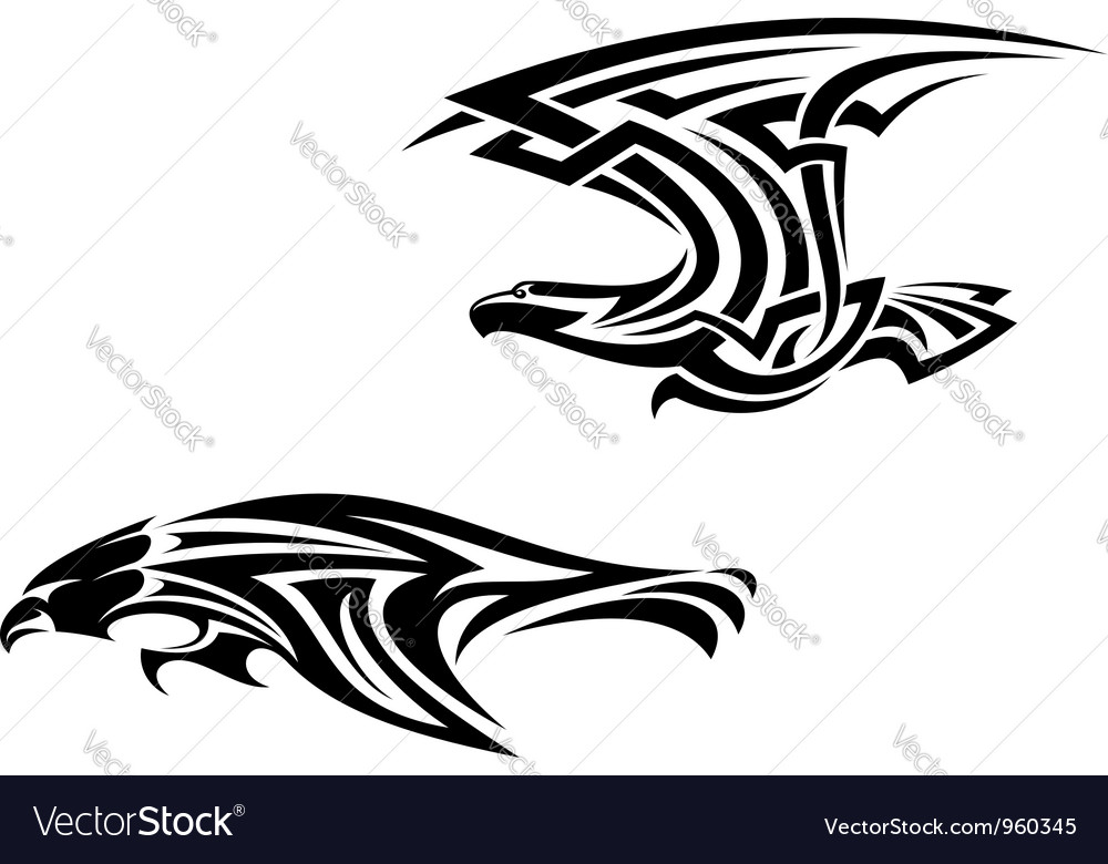Two birds mascots in tribal style vector