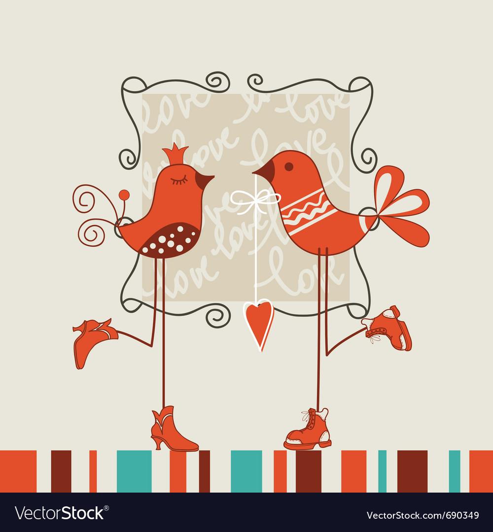 Birds romantic date vector