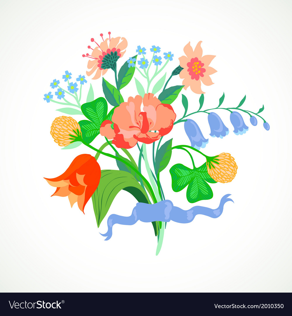 Card with bouquet of spring and summer flowers vector