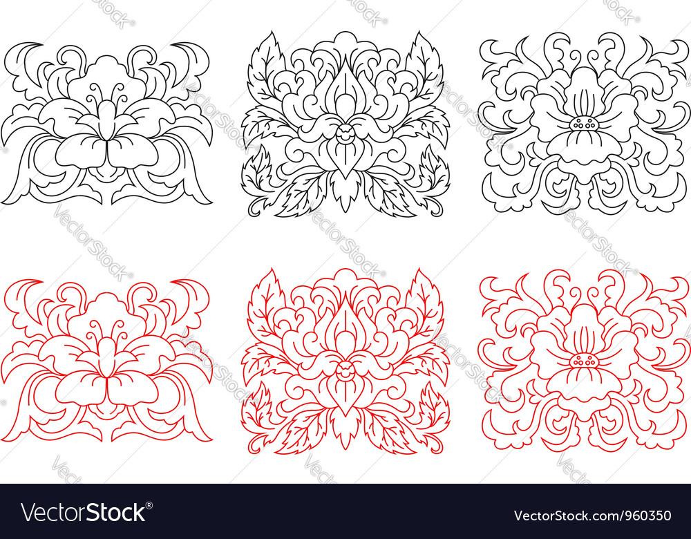 Retro flowers embellishments vector