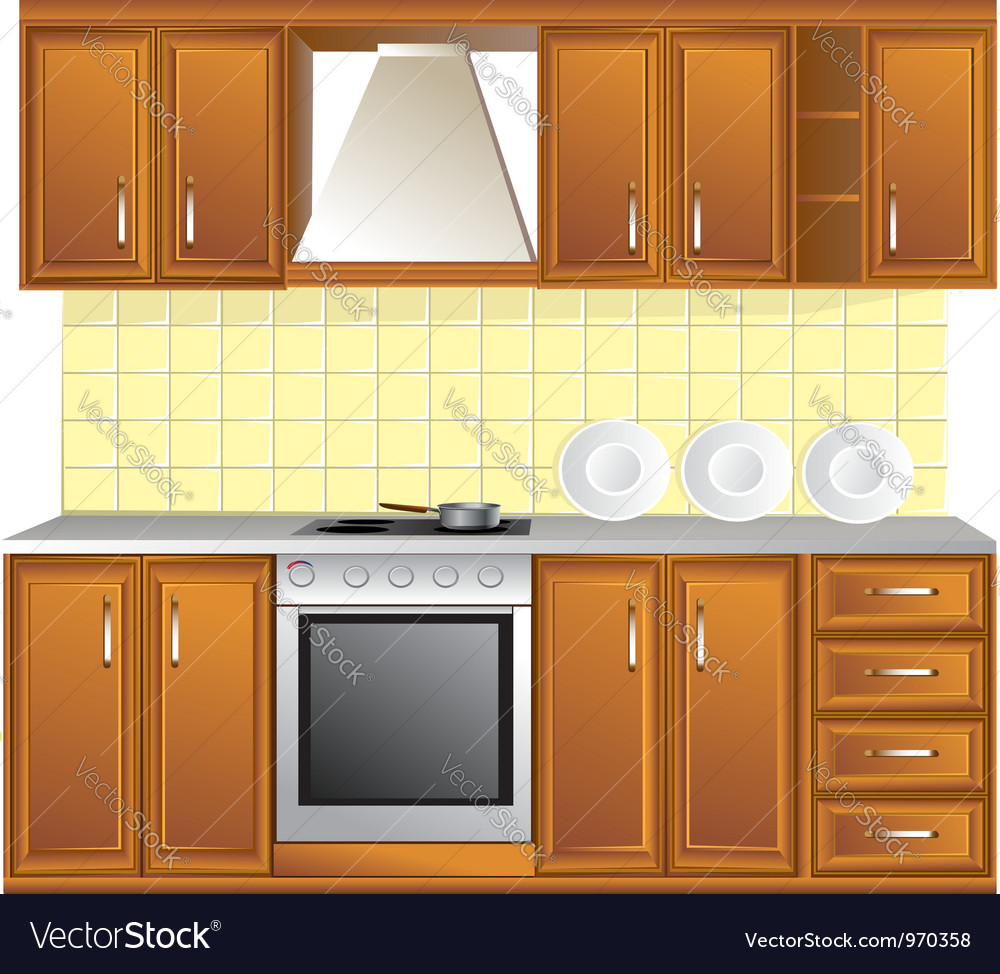 Light kitchen isolated on white background vector