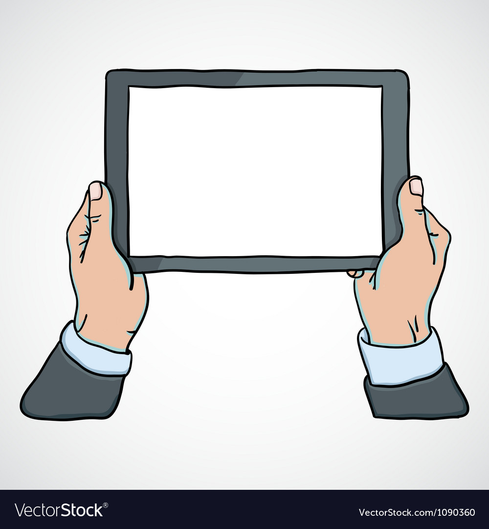 Mans hands holding a tablet vector