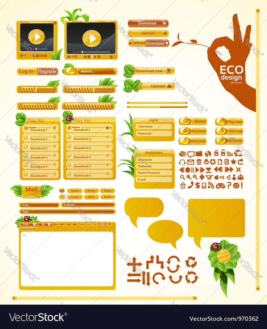 Elements for eco friendly web design big grass set vector