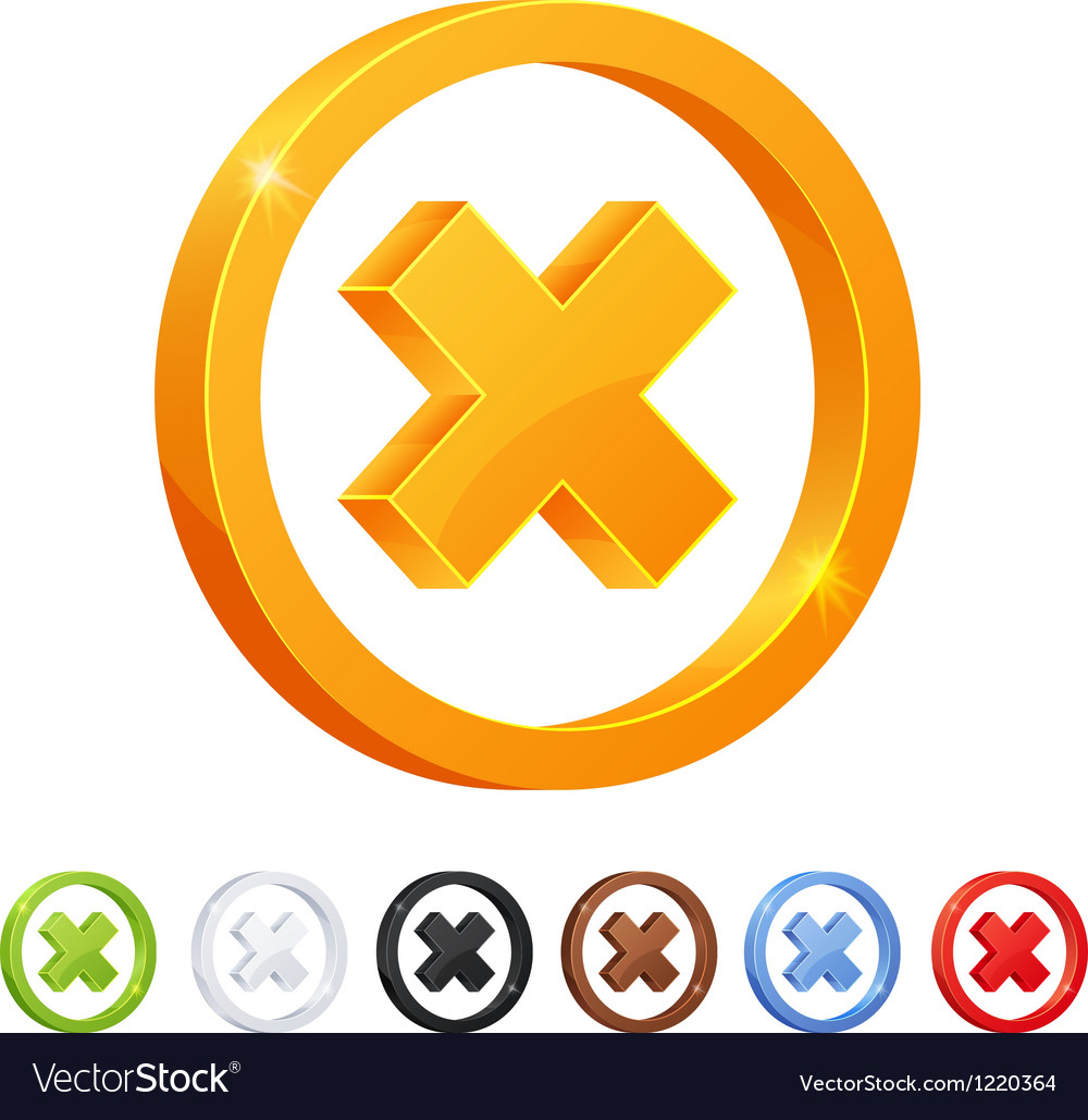 Set of 7 x mark symbol in different colors vector