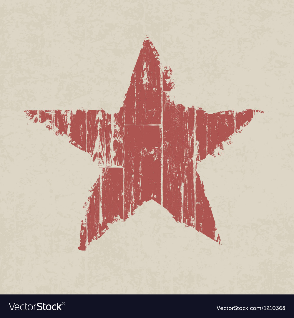 Abstract grunge red star on wooden texture vector