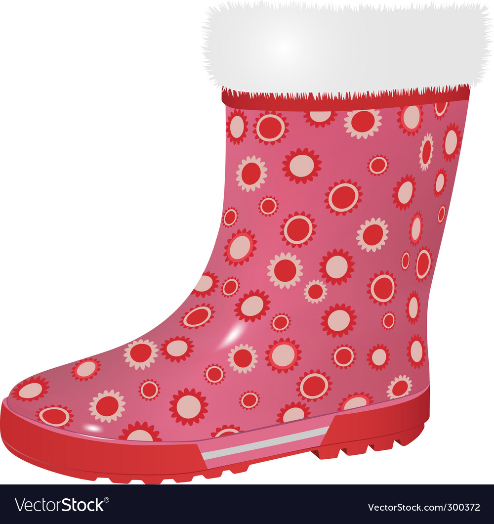 Pink rubber boot vector