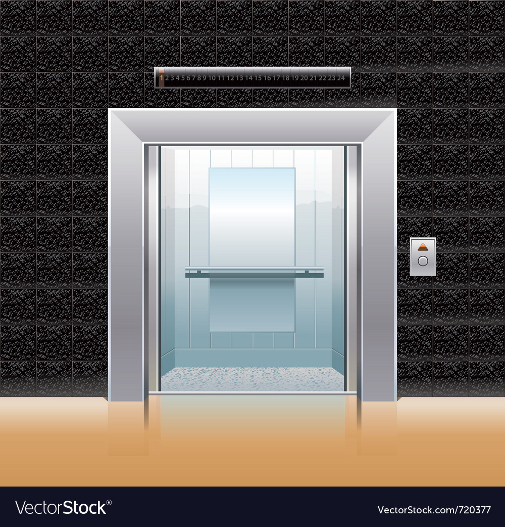 Passenger elevator with opened doors vector