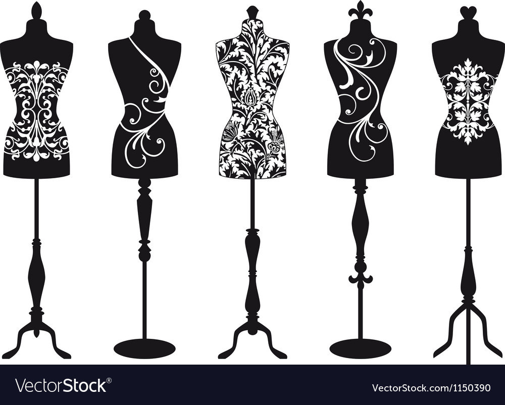 Vintage fashion mannequins vector