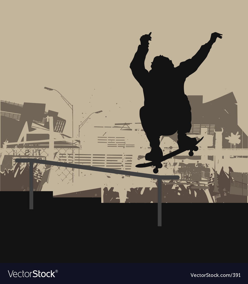 Free skater ollie handrail vector