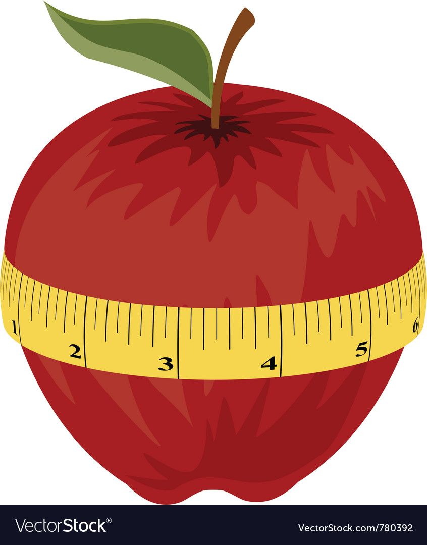 Measuring tape around red apple vector