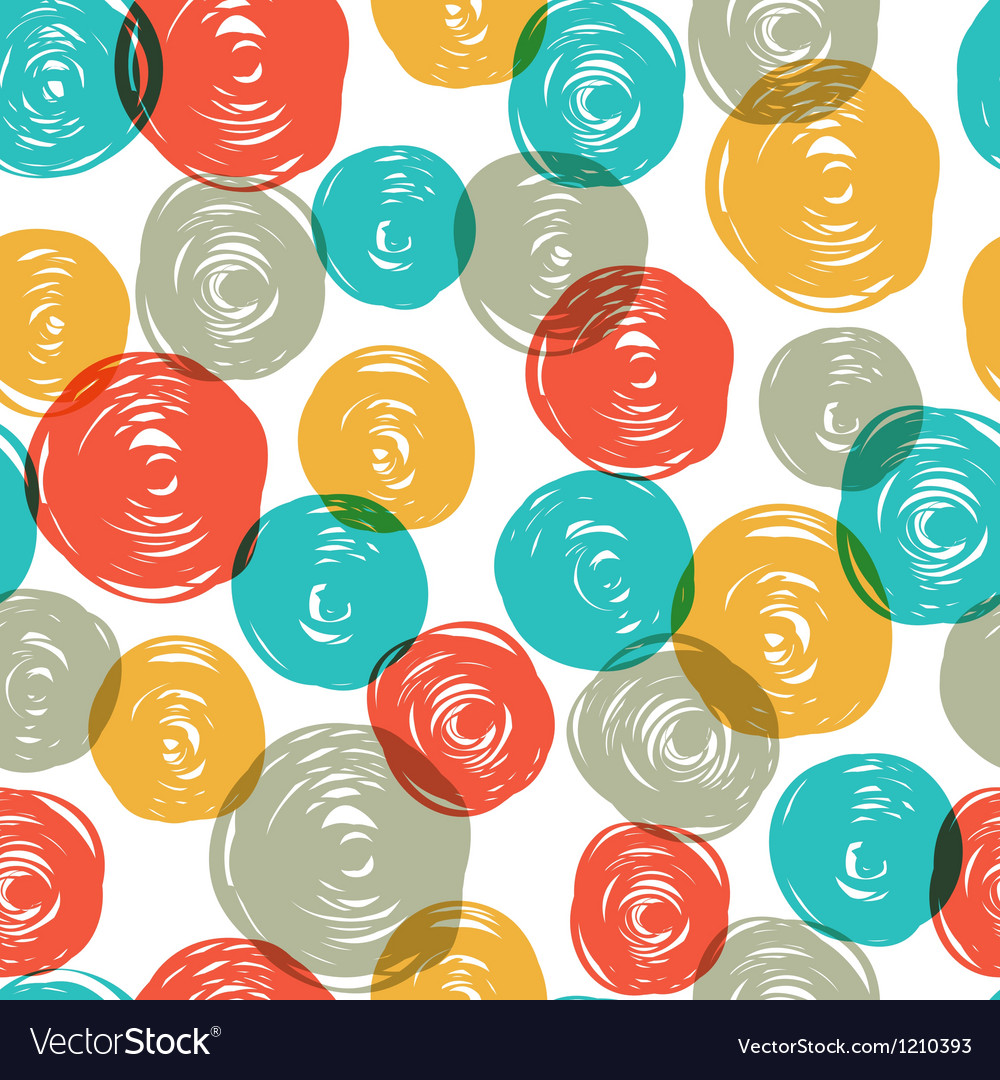 Abstract colorful retro seamless pattern balls doo vector