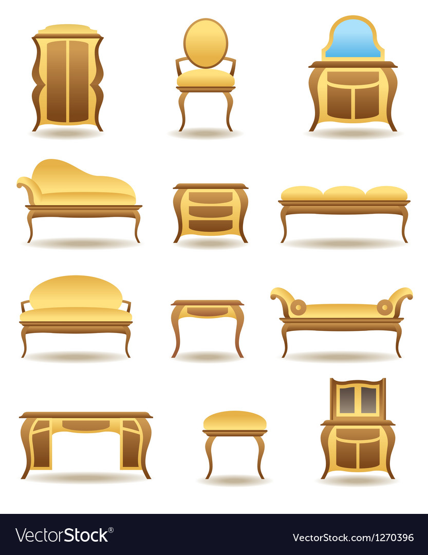 Classical home furniture icons set vector