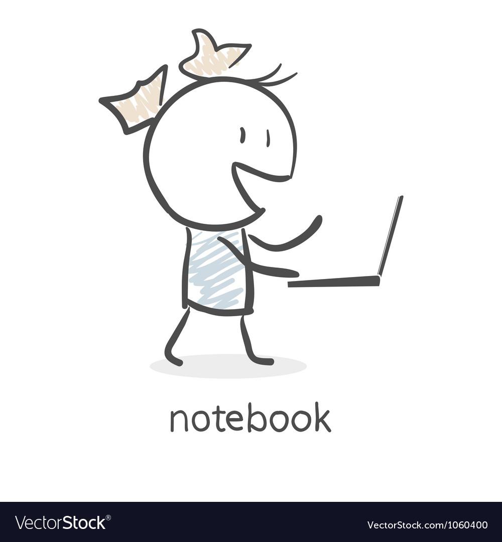 Cartoon girl and laptop vector