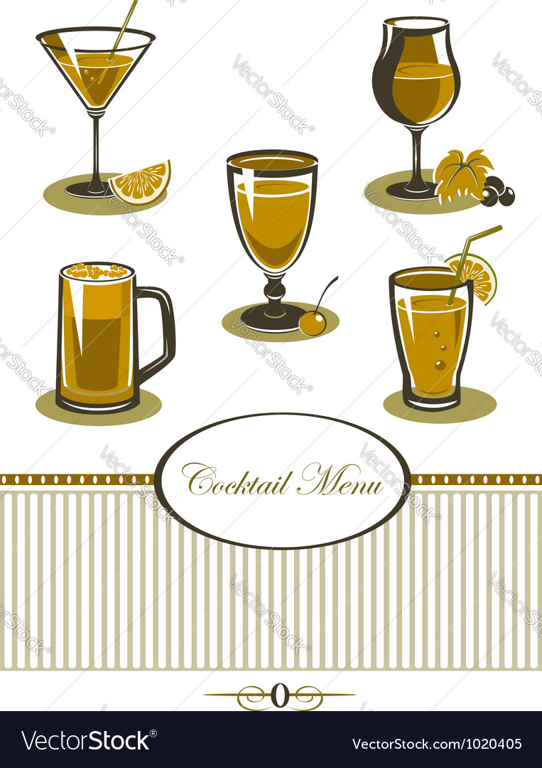 Drinks icons set orange menu vector