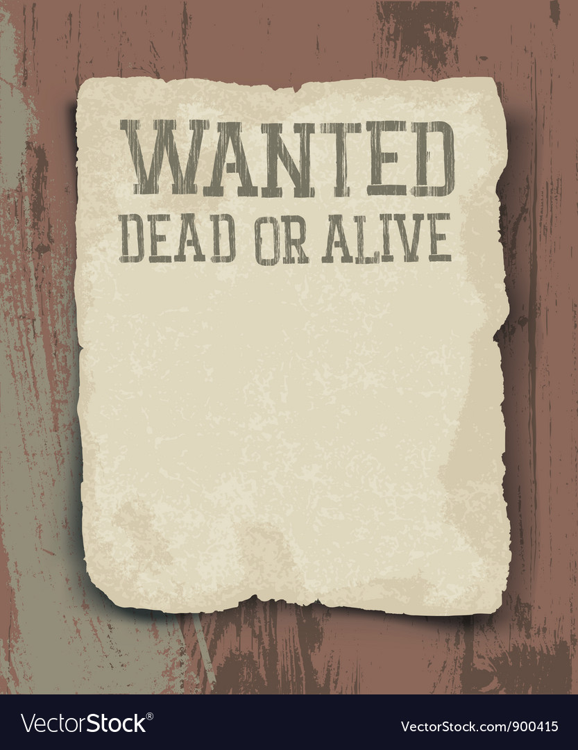 Wanted poster vintage vector