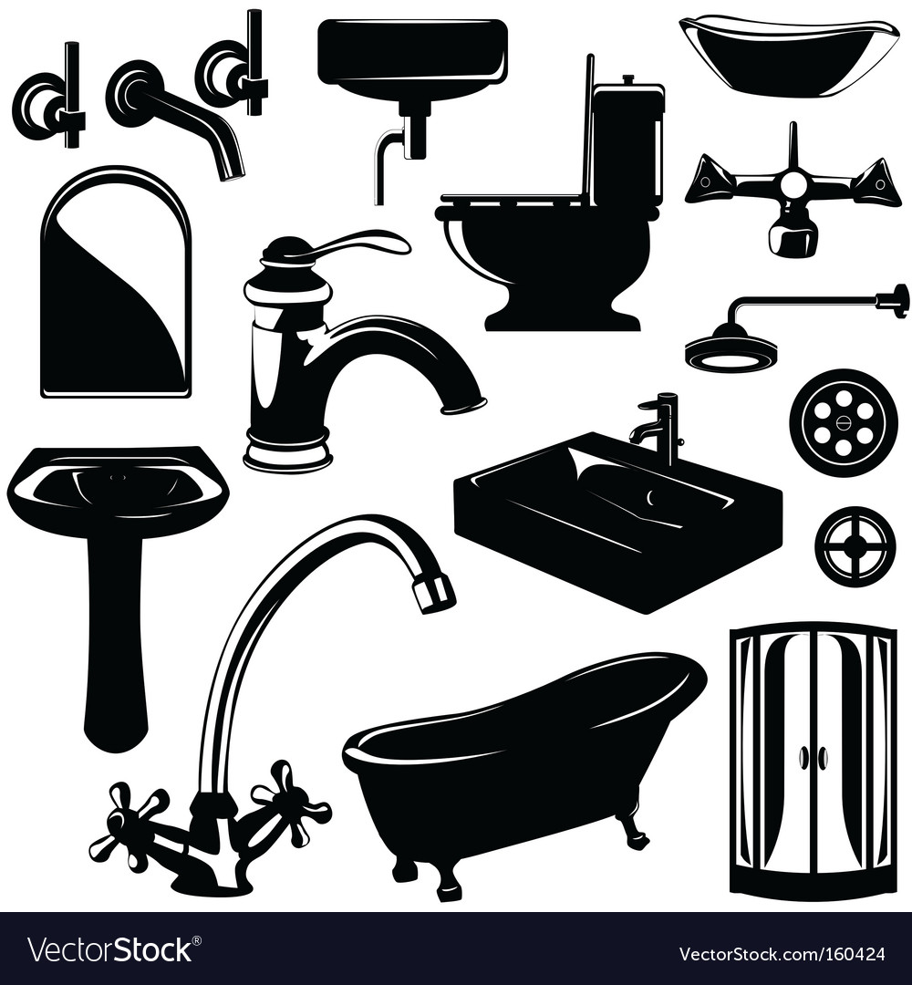 Bathroom objects vector