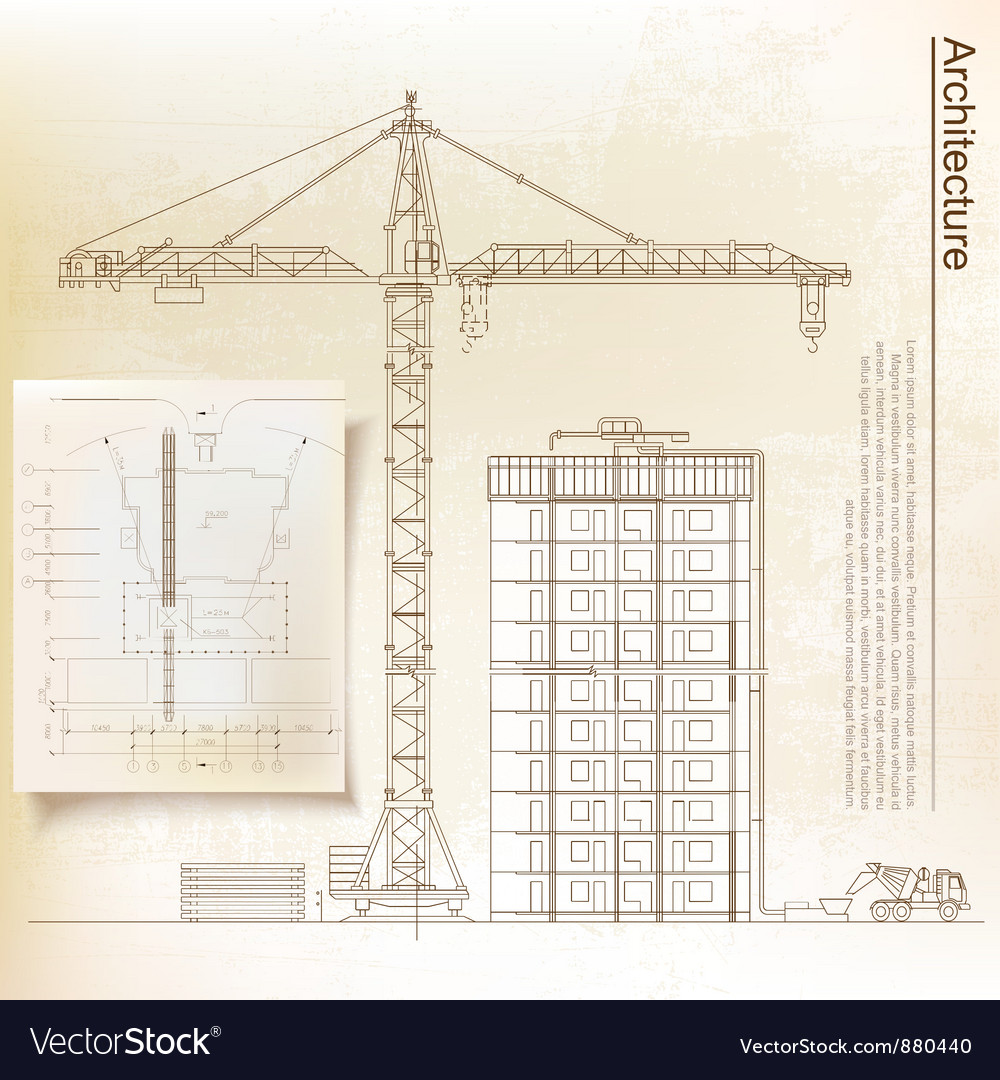 Architectural background with a crane vector