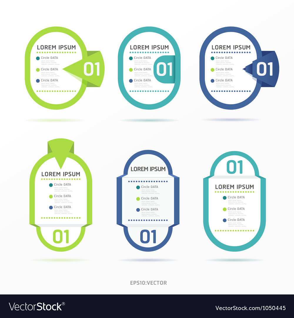 Numbered banners template vector
