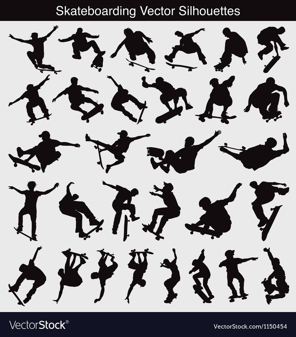 Skateboarding silhouettes vector
