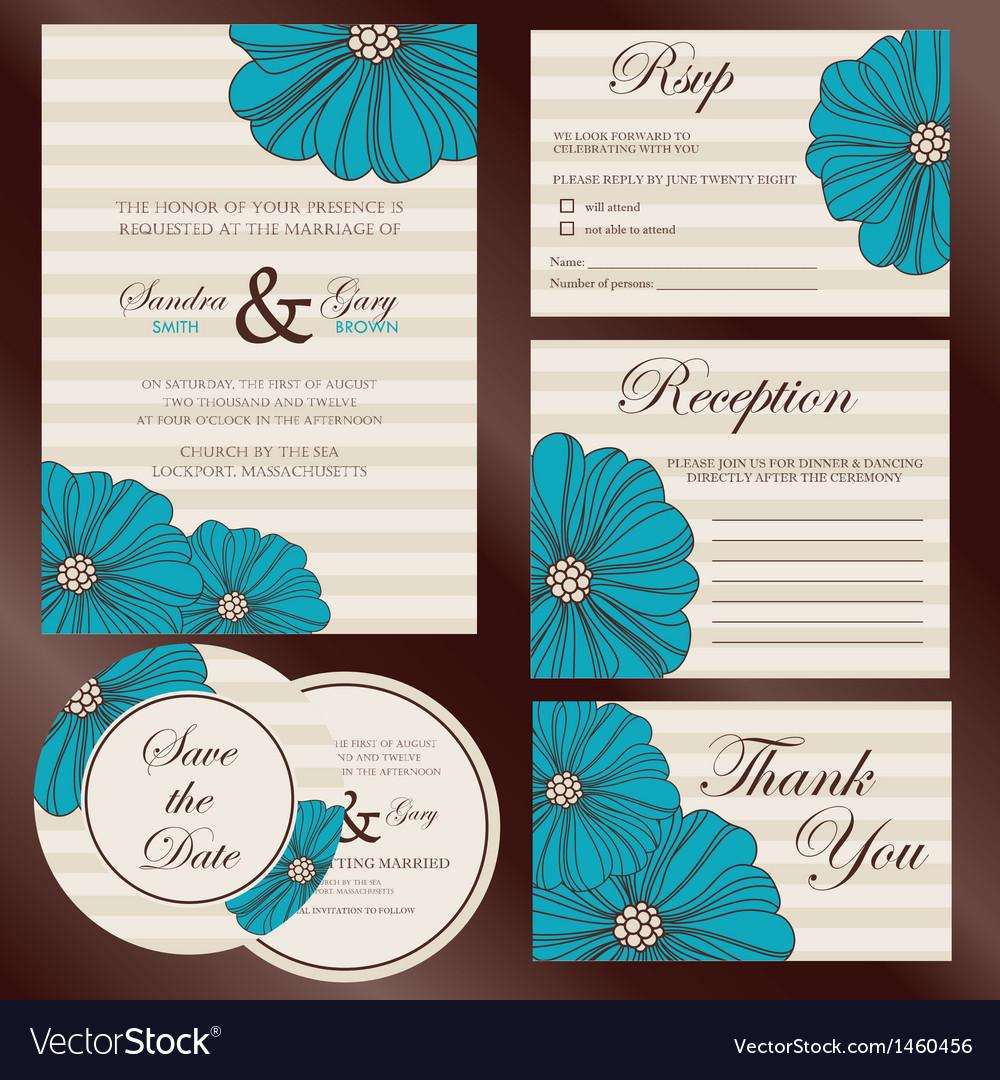 Wedding set invitations vector