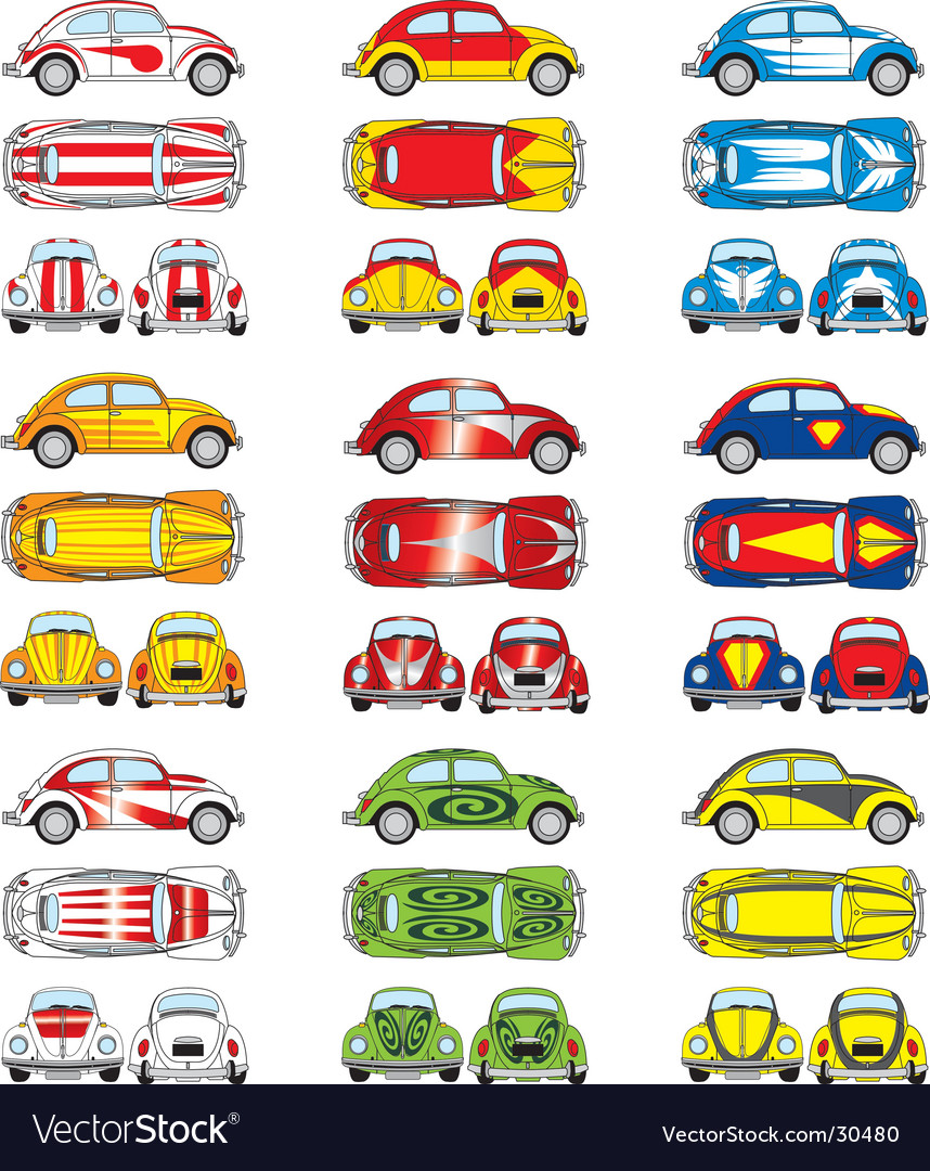 Vw beetle cars vector