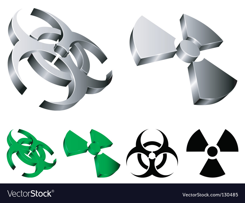 Biohazard and radiation signs vector