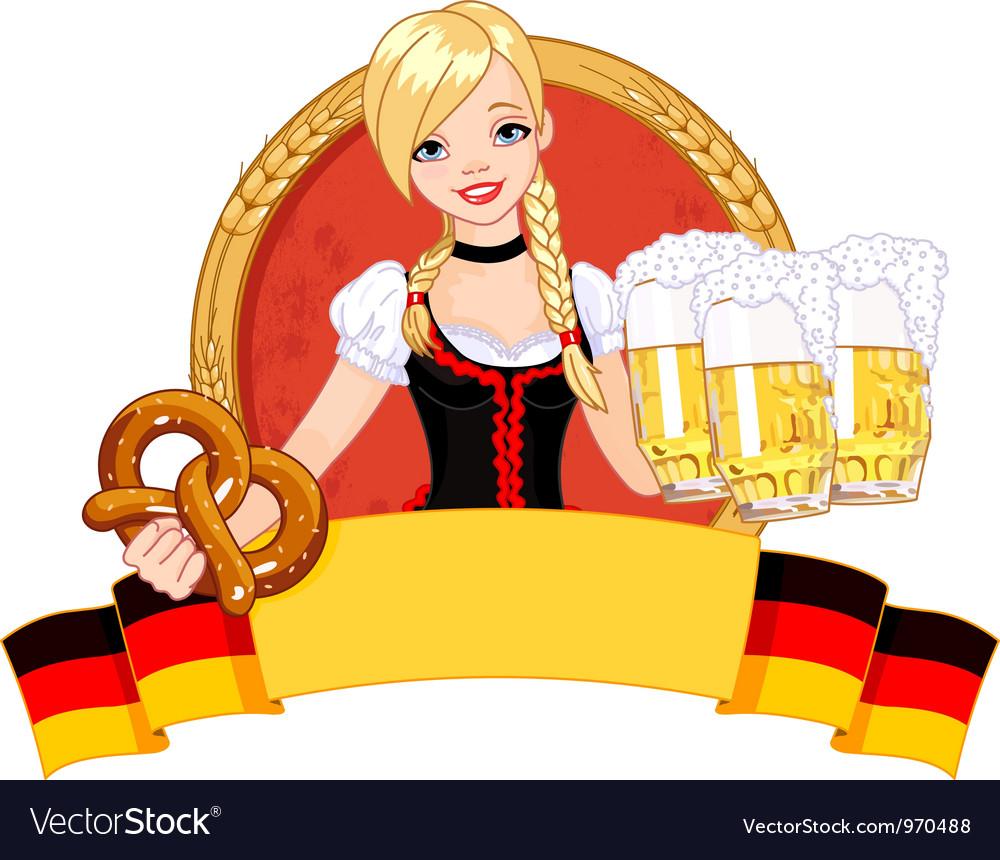 Oktoberfest girl design vector