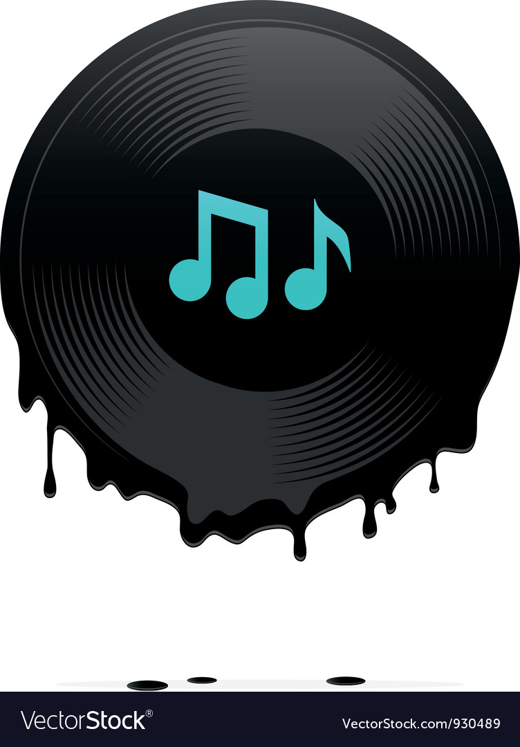 Melted vinyl record with musical notes vector