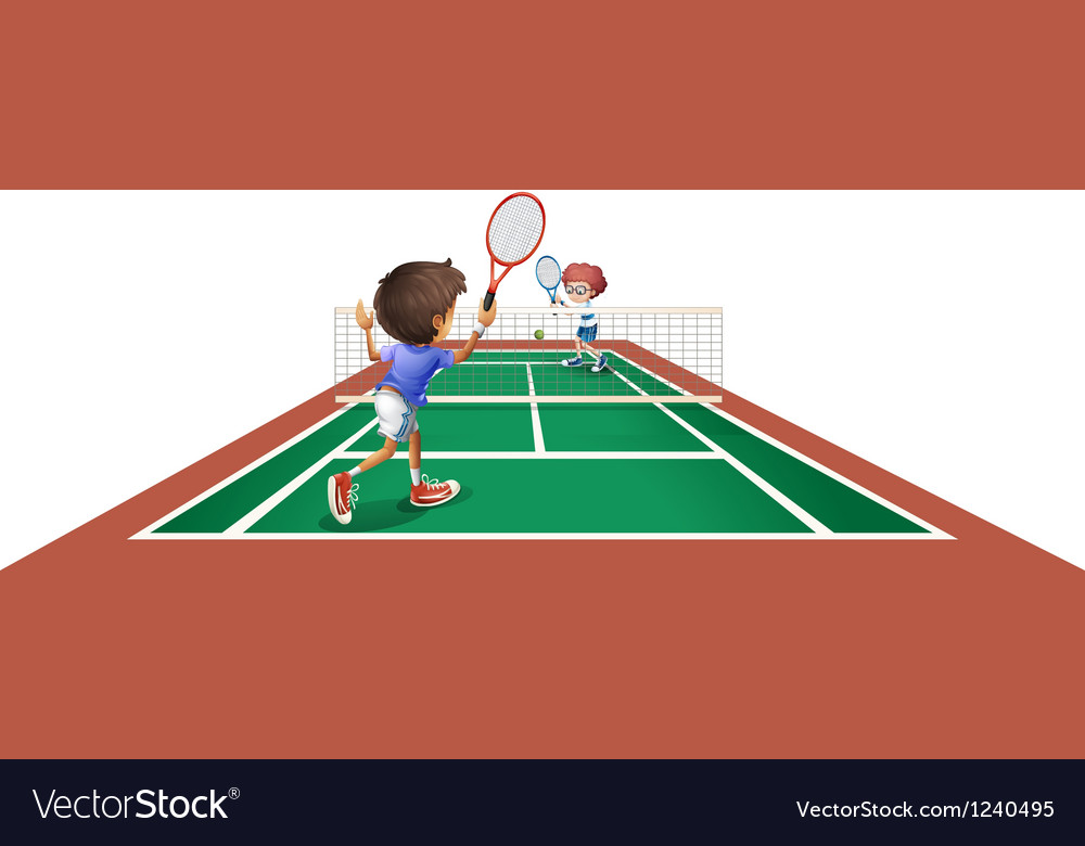 Two kids playing tennis vector