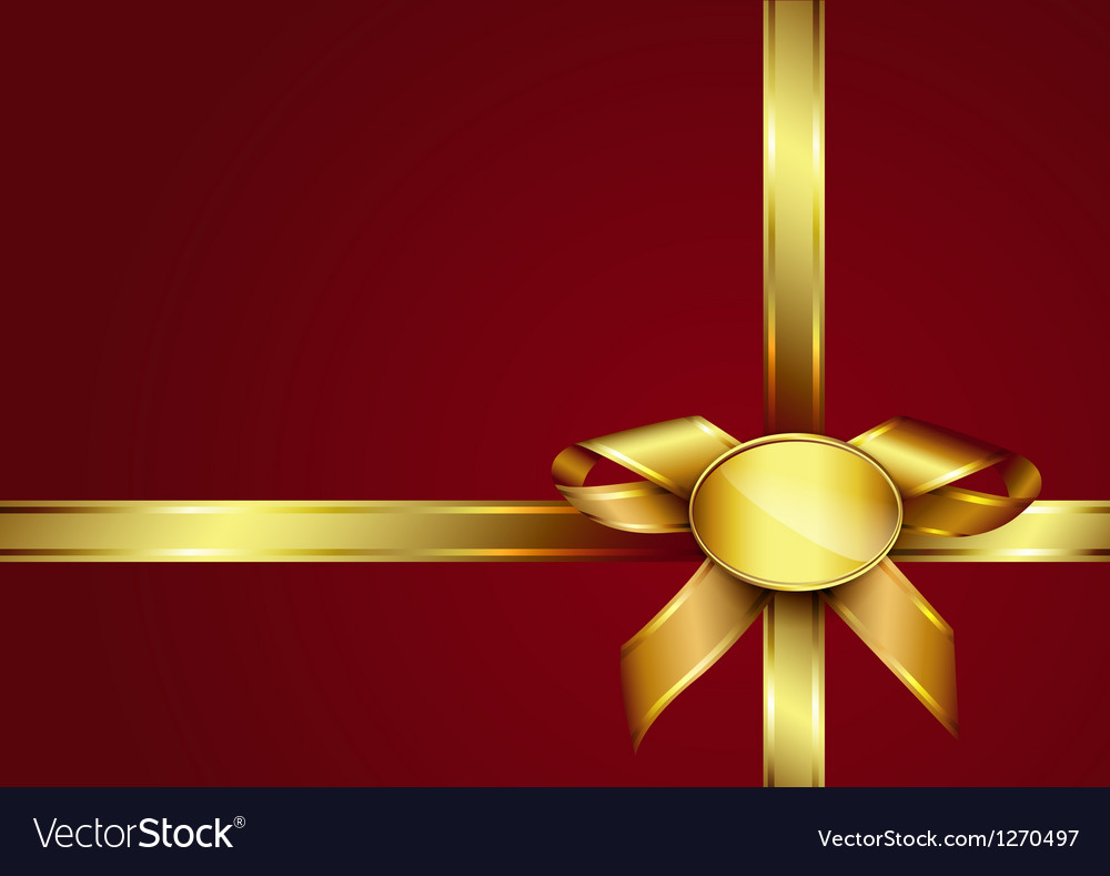 Golden ribbon bow and label vector