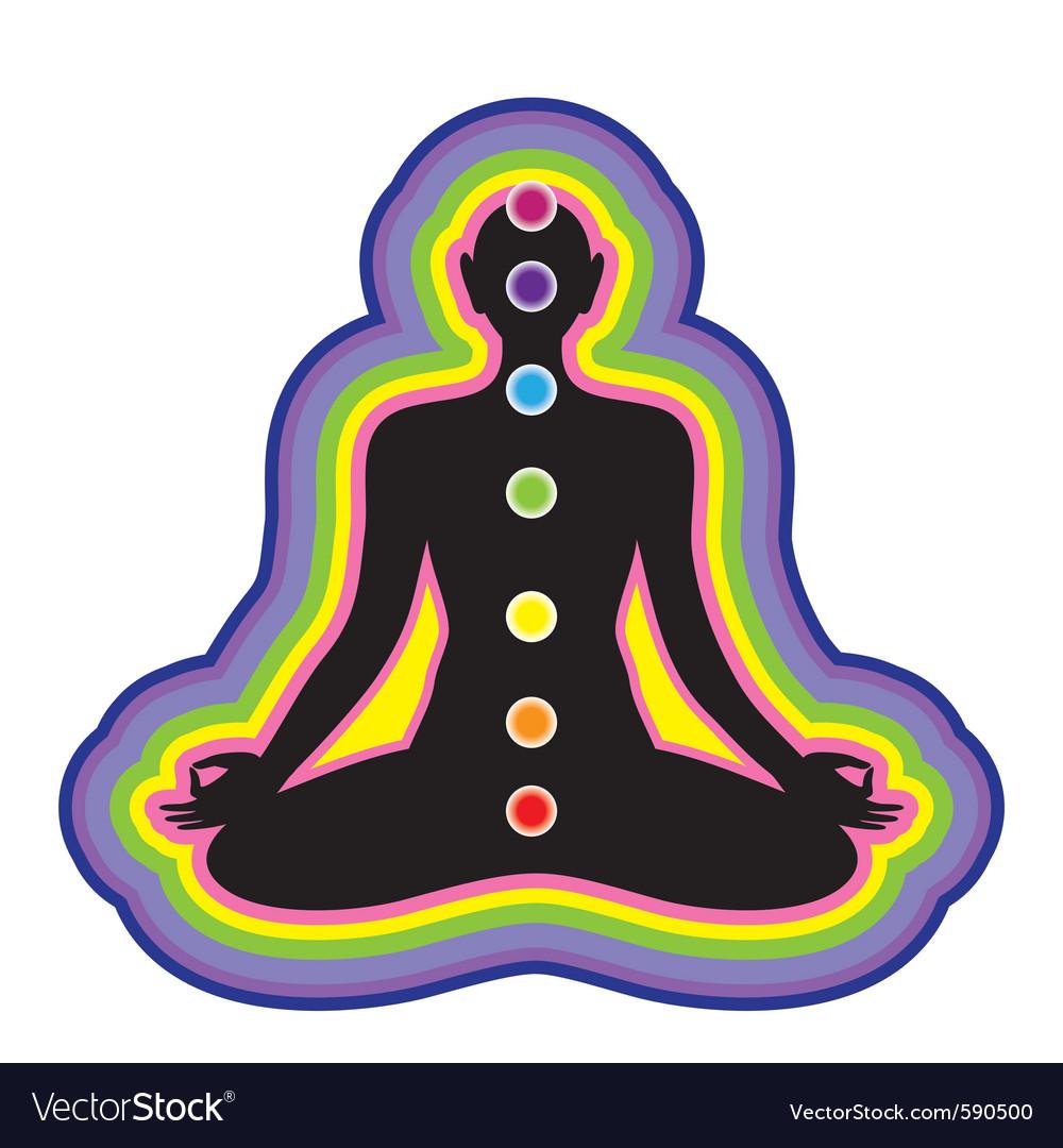 Meditation location of the chakras on the human bo vector