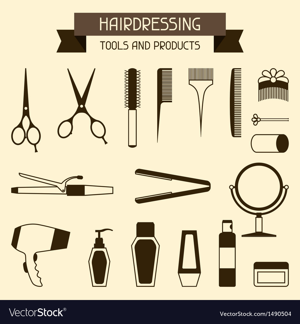Hairdressing tools and products vector