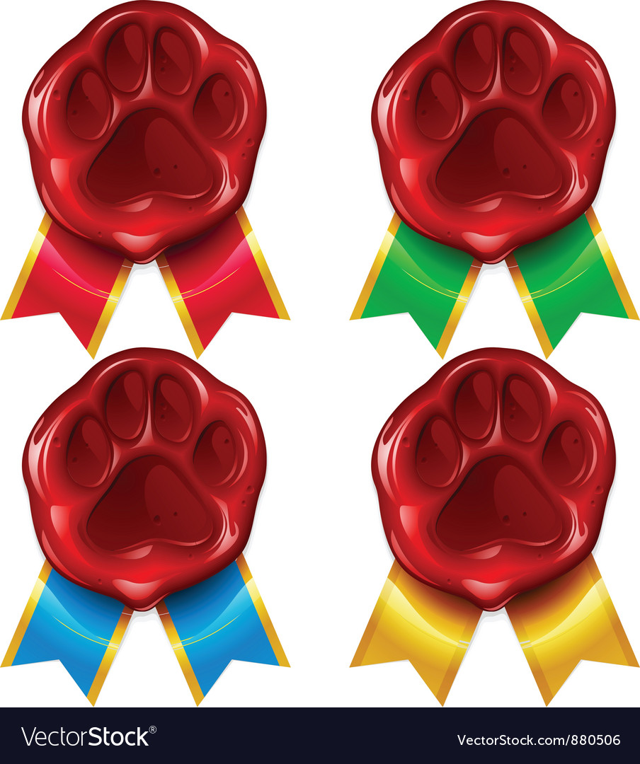 Dog or cat paw wax seal and color ribbon vector