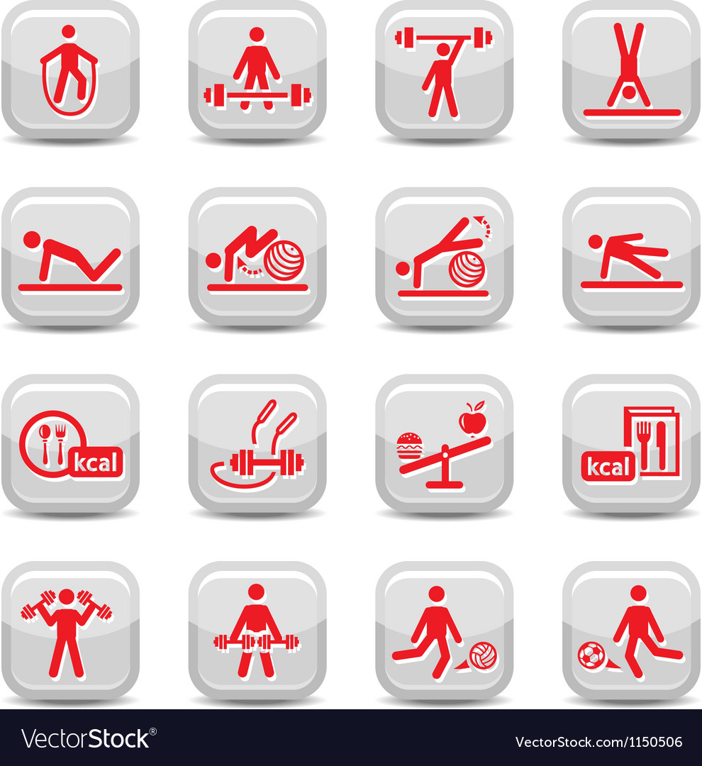 Fitness and sport icons vector