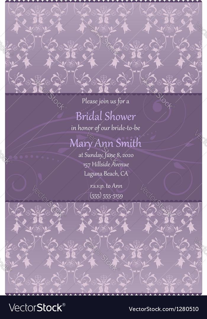 Violet bridal shower invitation vector