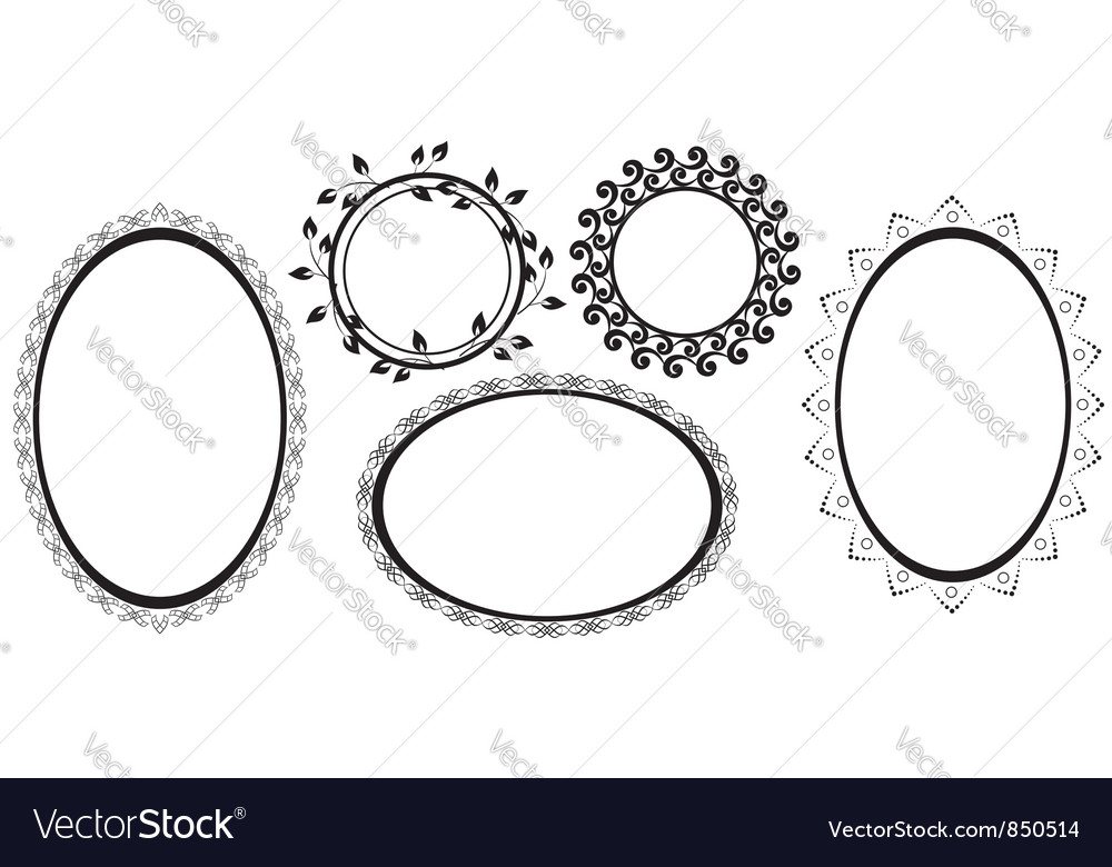 Black frames with tracery vector