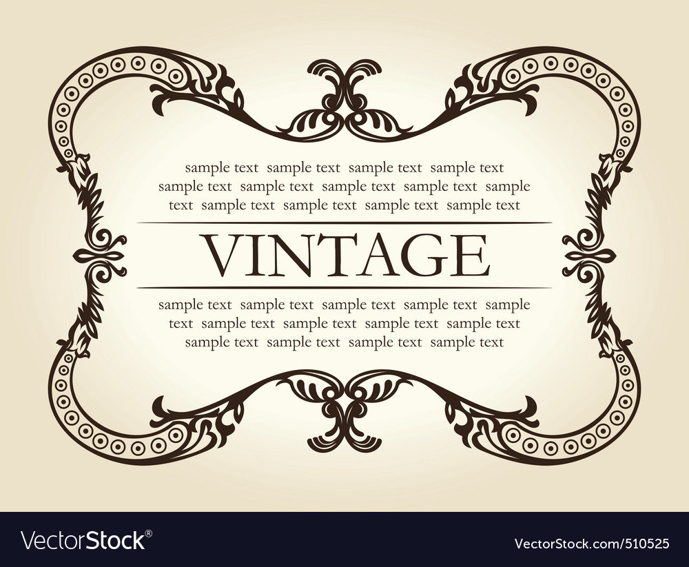 Vintage brown abstract frame ornament vector