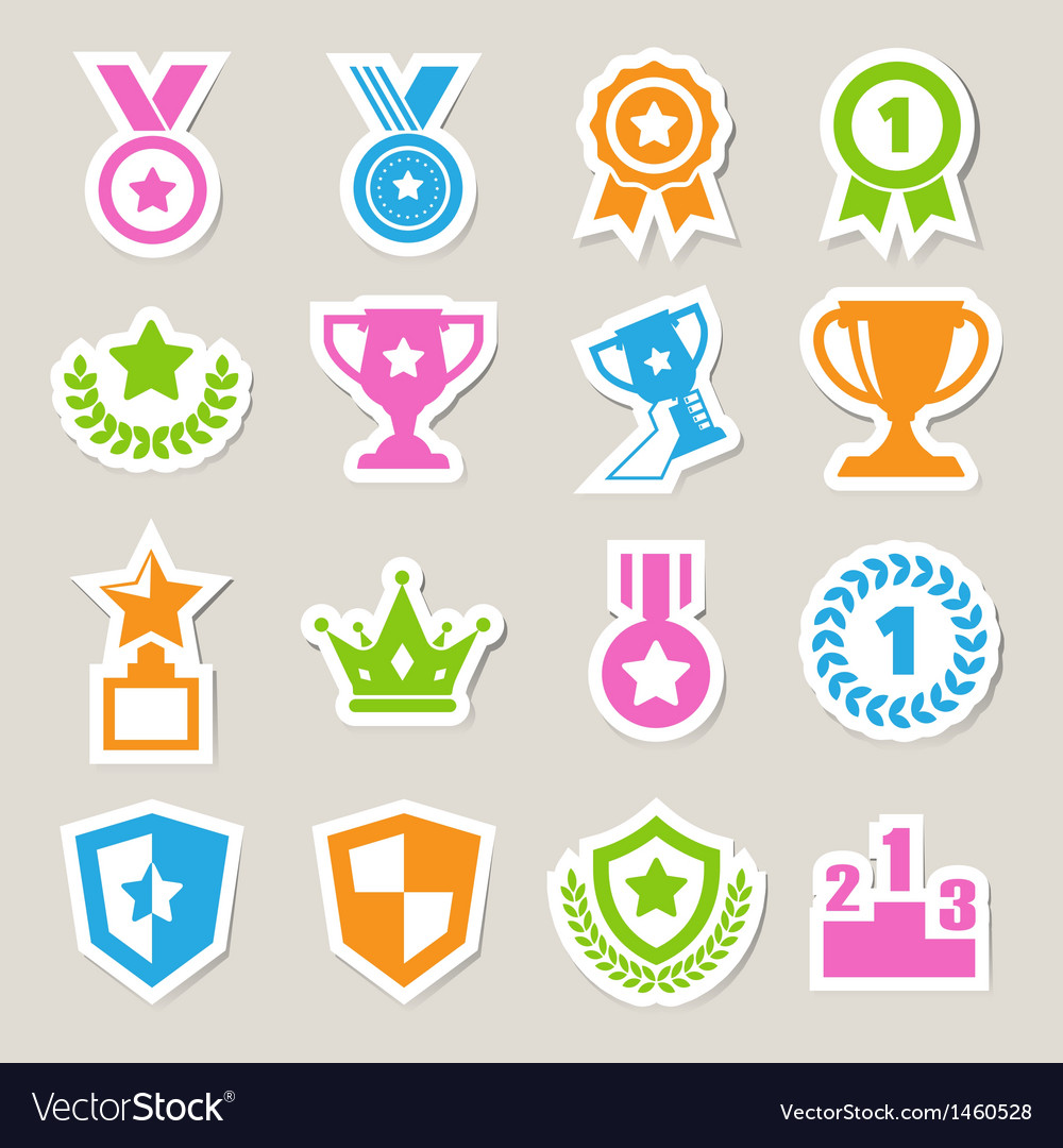 Trophy and awards icons set eps10 vector