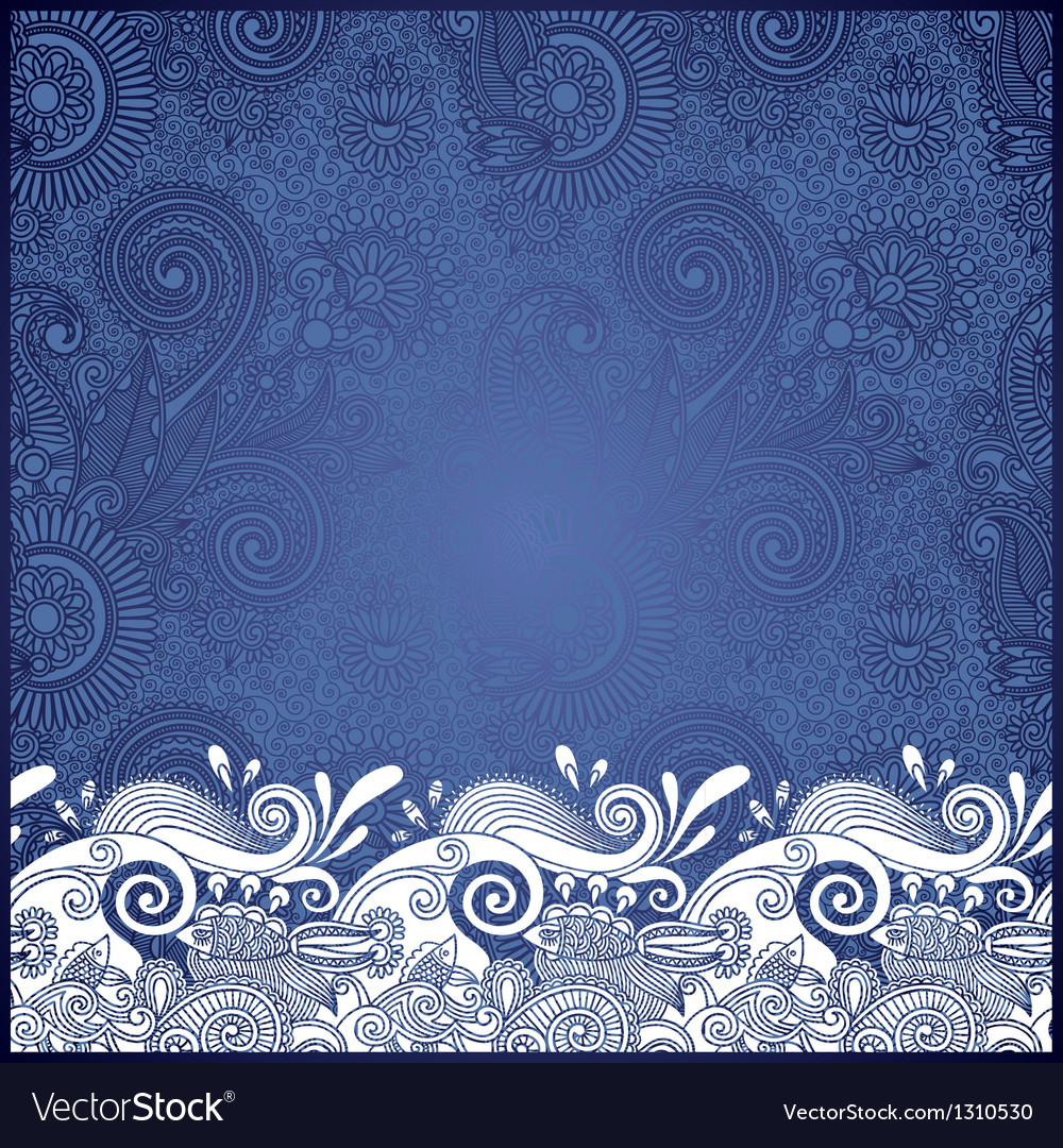 Ornamental stripes in floral background vector