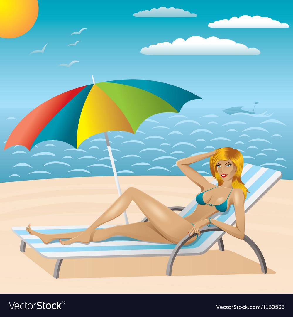 Sexy woman in bikini on the beach 2 vector