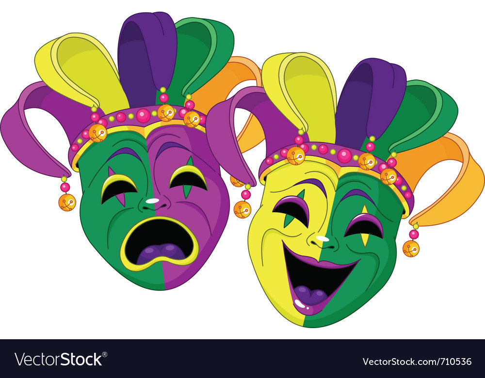 Mardi gras comedy and tragedy masks vector