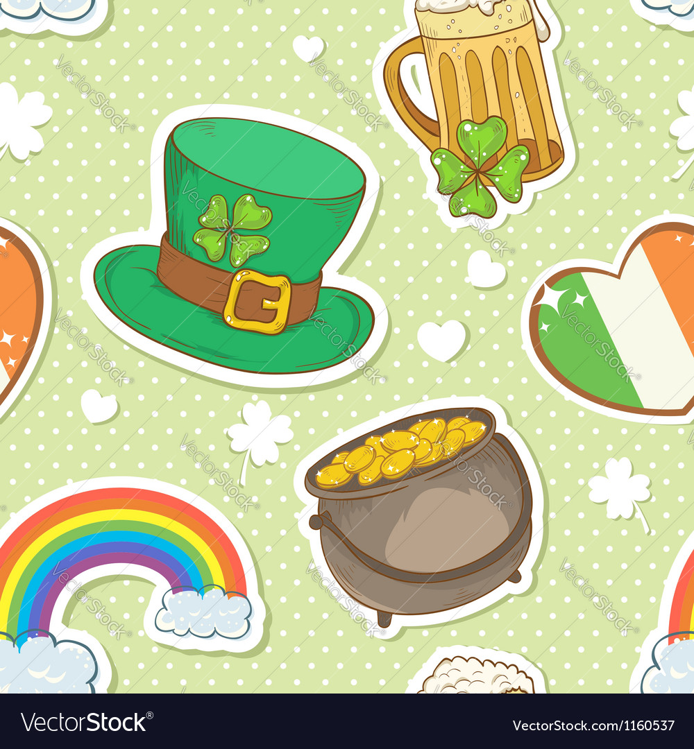 St patricks day stickers elements seamless pattern vector