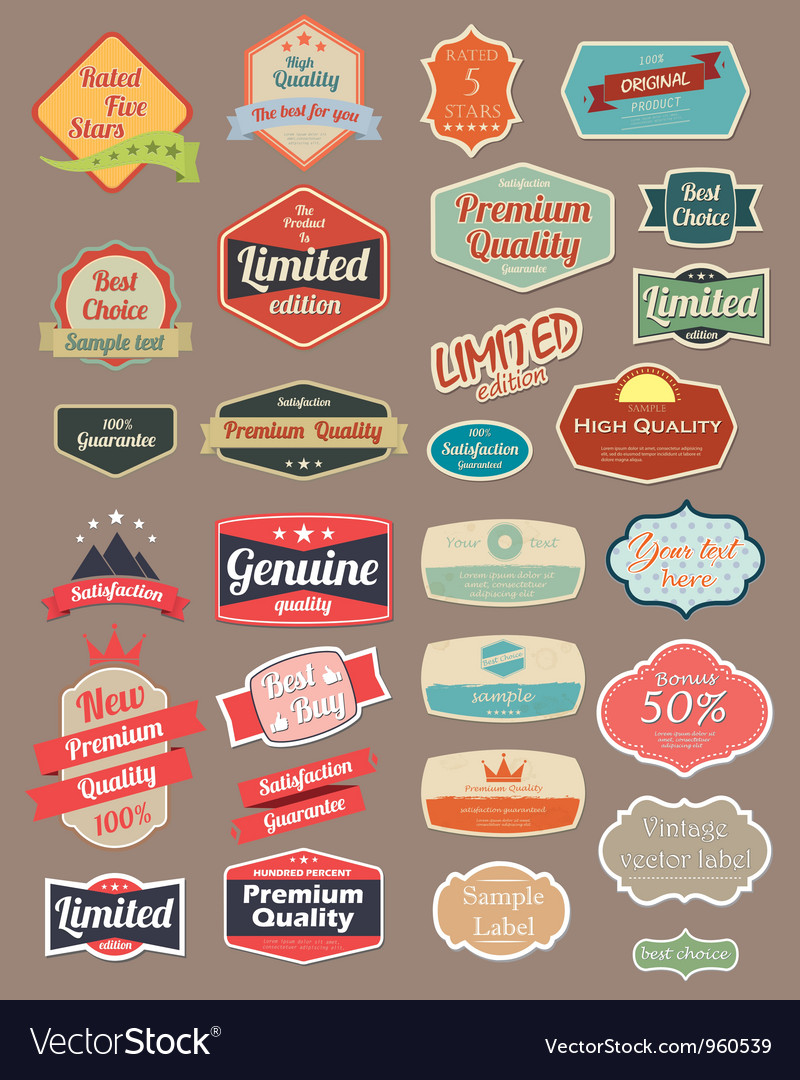 Retro design label vector