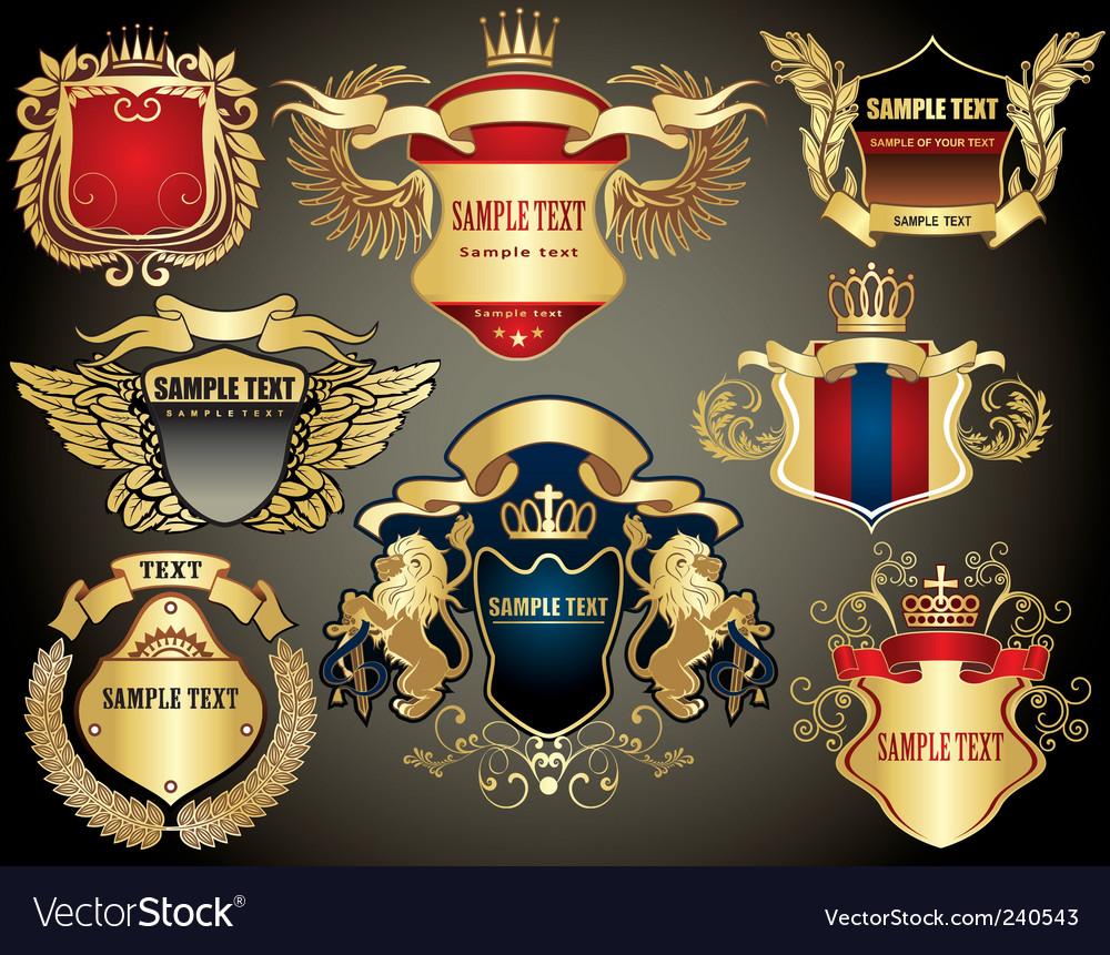 Gold heraldry elements vector