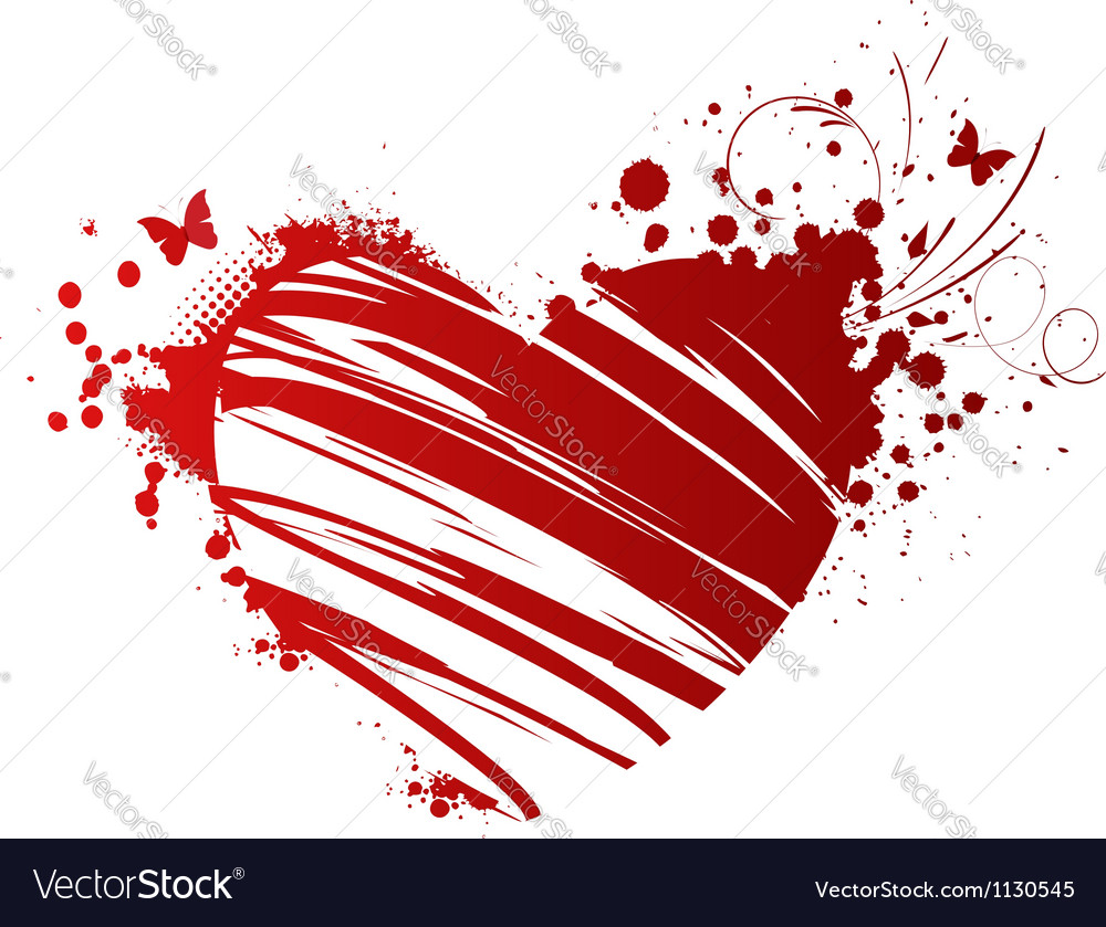Heart floral red vector