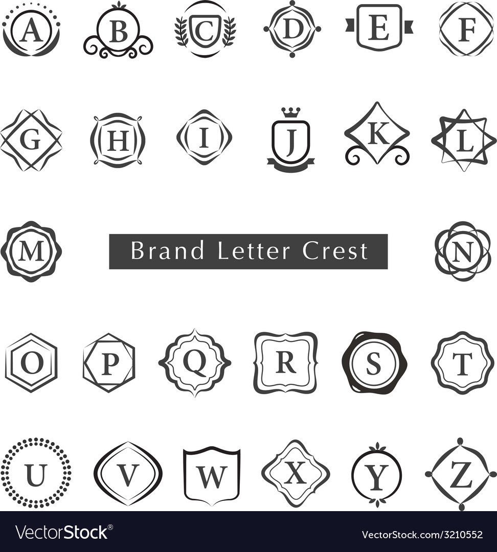 Letters crest vector by rln image 3210552 vectorstock
